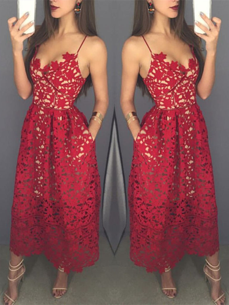 4ac3e274181 Sweetheart Neck Tea Length Red Lace Short Prom Dress with Spaghetti ...
