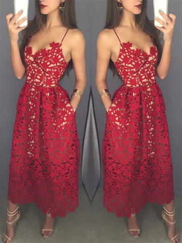 Sweetheart Neck Tea Length Red Lace Prom Dress with Spaghetti Straps, Red Lace Formal Dress