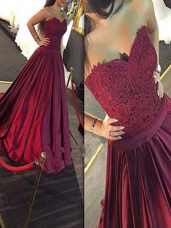 A-Line Sweetheart Sweep Train Burgundy Prom Dress with Lace, Maroon Prom Gown, Formal Dress