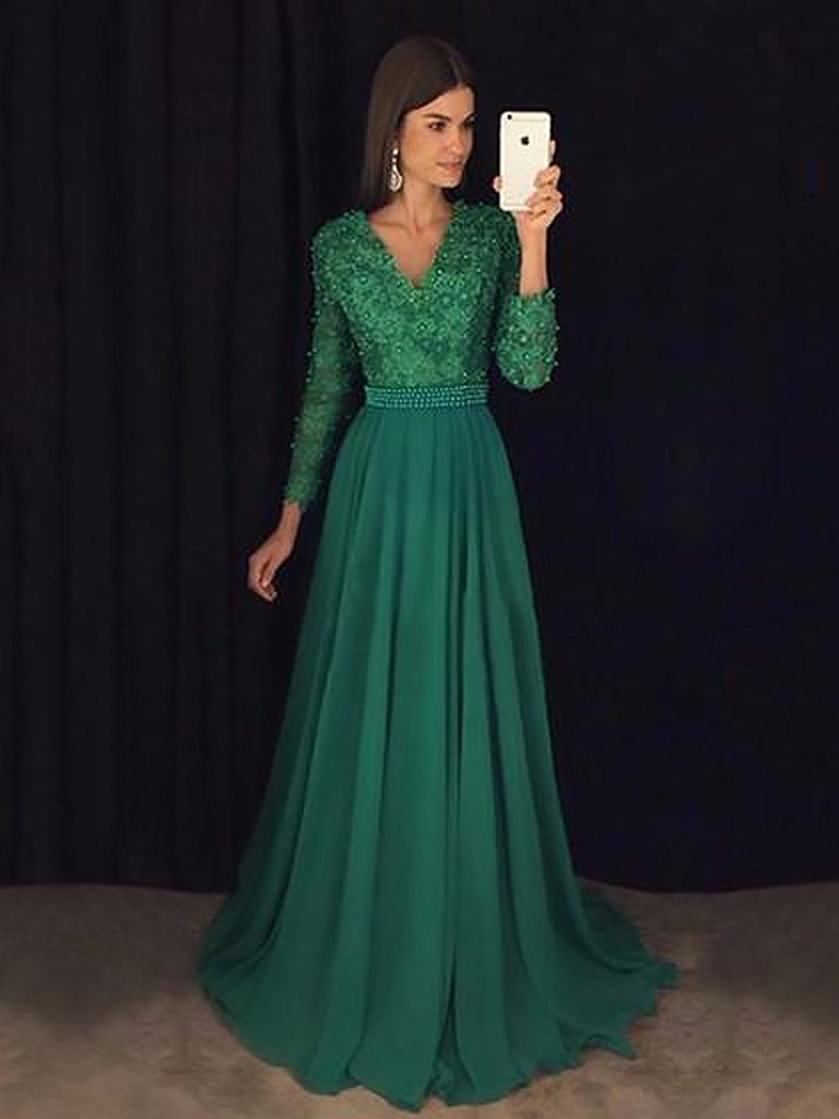 d59405037fc9 A Line V Neck Emerald Green Long Sleeves Prom Dress, Green Formal Dres –  jbydress