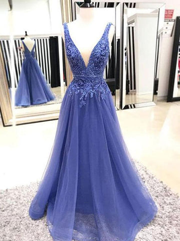 A Line V Neck Sleeveless Prom Dress with Lace Applique, V Neck Formal Dress