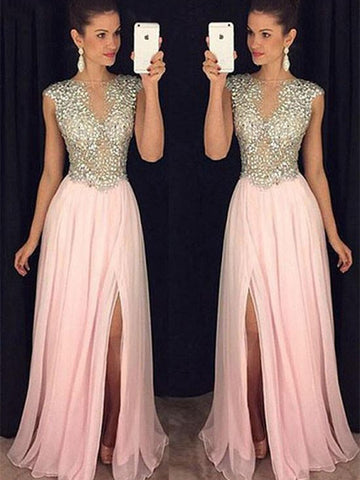 Custom Made Round Neck Sleeveless Pink Prom Dress, Pink Formal Dress, Graduation Dress