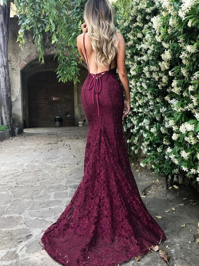 e2b6ecf6c403 ... Sexy Spaghetti Straps Trumpet Mermaid Maroon Burgundy Lace Prom Dress  Formal  Dress  ...