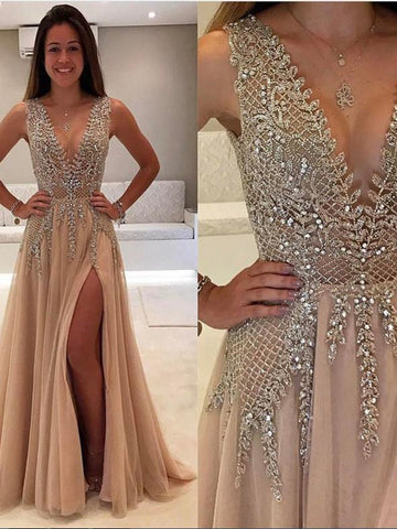 Sexy A Line V-neck Rhinestone Prom Dress with Slit, V Neck Graduation Dress