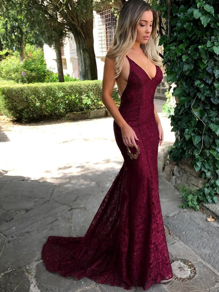 Sexy Spaghetti Straps Trumpet/Mermaid Maroon/Burgundy Lace Prom Dress/ Formal Dress/ Bridesmaid Dress