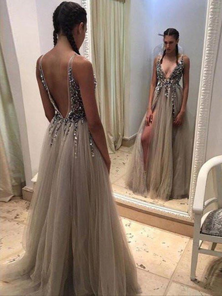 Custom Made A Line Deep V Neck Open Back Sexy Prom Dress with Slit, V Neck Open Back Formal Dress