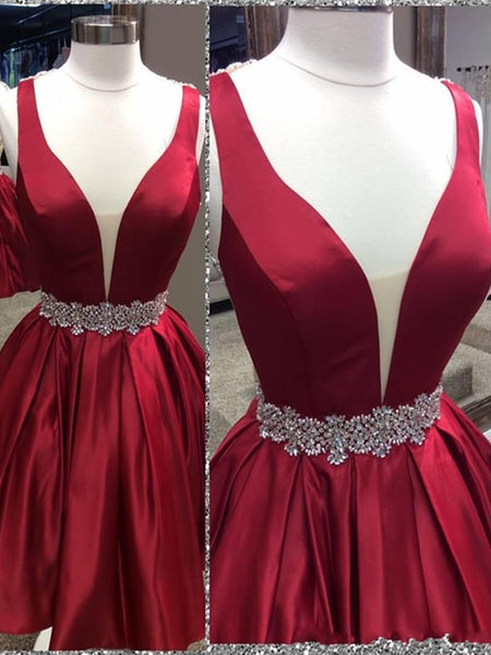 Short A Line V Neck Red Backless Prom Dress, Short Red Backless Homecoming Dress, Formal Dress