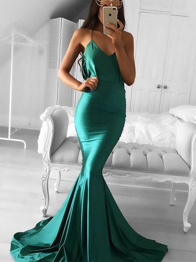 Spaghetti Strap Green Mermaid Sleeveless Prom Dress with Sweep Train, Mermaid Green Formal Dress