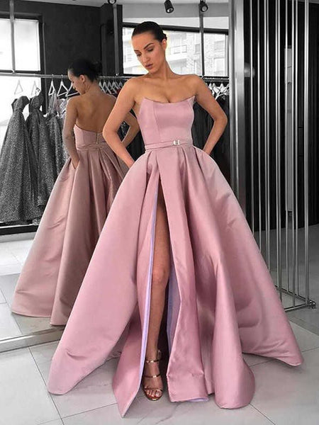 Custom Made Pink Prom Gown with High Leg Slit, Pink Formal Graduation Dresses, High Slit Evening Dresses
