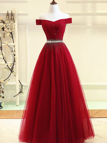 Custom Made Burgundy Off Shoulder Prom Dress, Burgundy Formal Dress, Off Shoulder Evening Dress