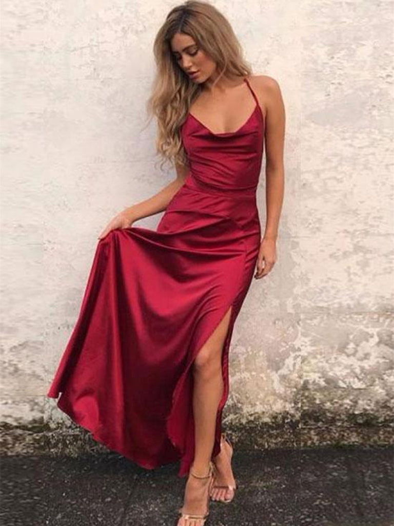 A Line Burgundy Prom Dress with Slit, Burgundy Formal Dress, Burgundy Evening Dress