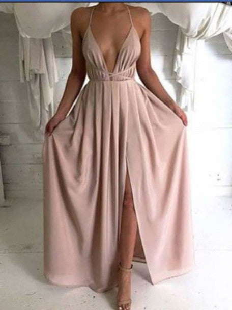 A Line V Neck Backless Floor Length Prom Dresses, Evening Dresses
