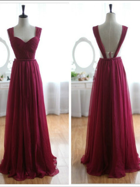 Backless Wine Red/Burgundy Chiffon Prom Dress/Bridesmaid Dress
