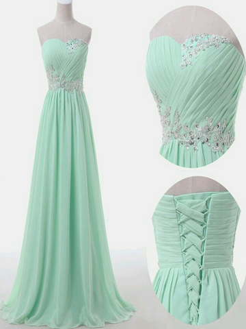 A Line Sweetheart Neck Floor Length Green Prom Dress, Long Formal / Bridesmaid Dress
