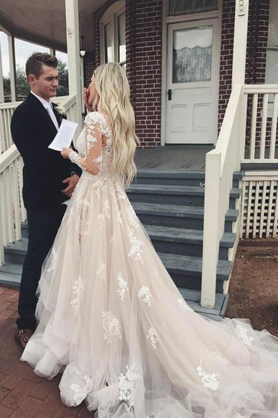 Long Sleeves Champagne Lace Wedding Dresses, Champagne Lace Prom Dresses, Evening Dresses