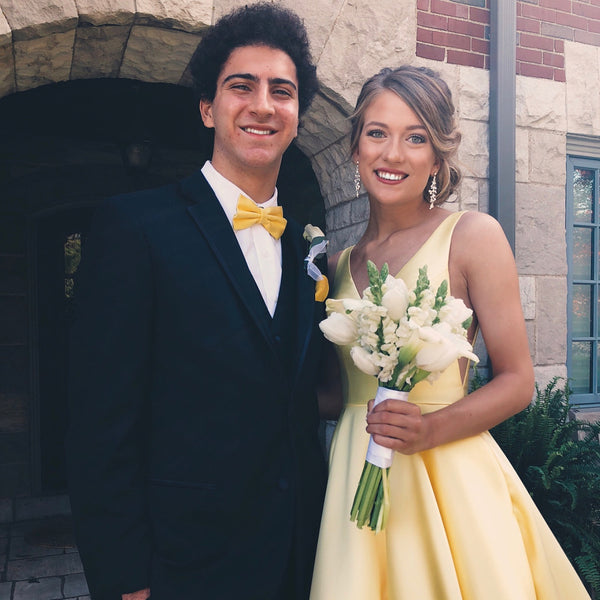 A Line V Neck Yellow Prom Dresses, Yellow V Neck Formal Graduatio Evening Dresses