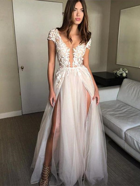 Round Neck Cap Sleeves Backlesss Lace Wedding Dresses, Ivory Backless Lace Prom Dresses Evening Dresses