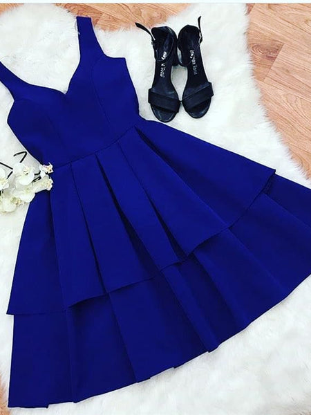 A Line V Neck Short Royal Blue Prom Dresses, Short Royal Blue Formal Graduation Evening Homecoming Dresses