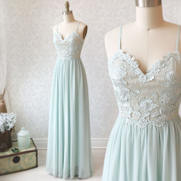 Sweetheart Neck Spaghetti Straps Mint Green Lace Prom Dresses, Mint Green Lace Formal Evening Bridesmaid Dresses