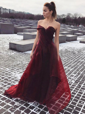 Sweetheart Neck Maroon Prom Dress with Train, Maroon Formal Dress