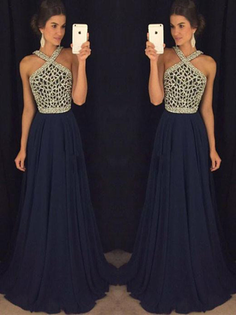 Floor Length Halter Neck Royal Blue Prom Dress, Dark Blue Formal ...
