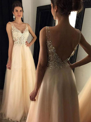A-line V-neck Tulle Appliques Lace Floor-length Backless Prom Dresses, Backless Formal Dress