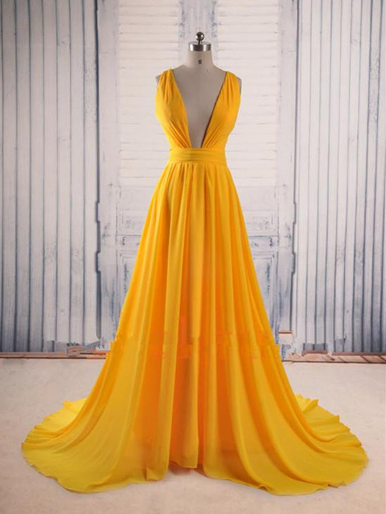 1e7f787984d Unique V Neck Yellow Prom Dress with Sweep Train