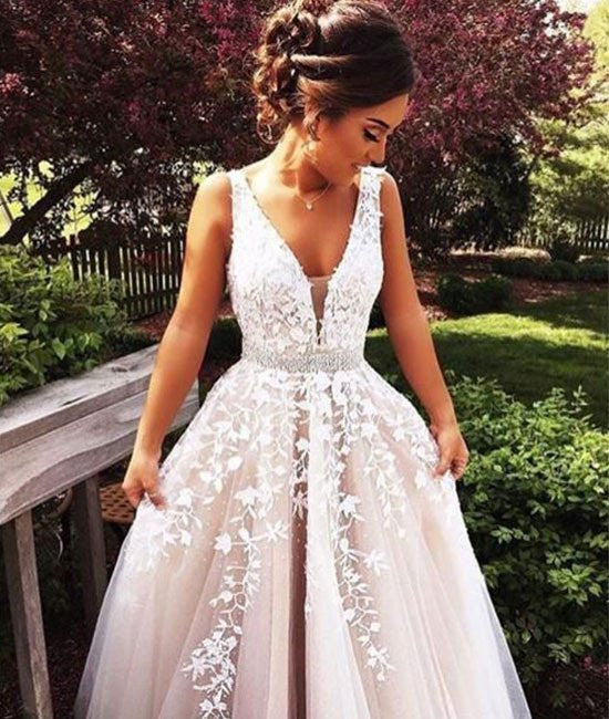 Elegant A Line V Neck Lace Wedding Dresses, Lace Prom Dresses ...