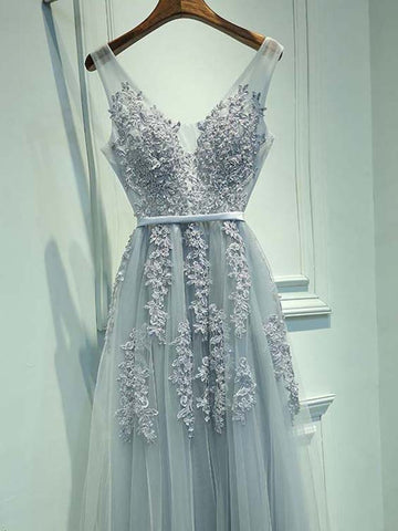 A Line Round Neck Sleeveless Lace Prom Dresses, Lace Bridesmaid Dresses, Formal Dresses