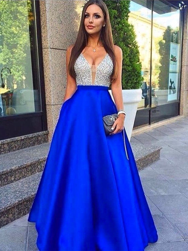 Custom Made A Line Royal Blue Long Prom Dresses, Royal Blue Formal Dresses