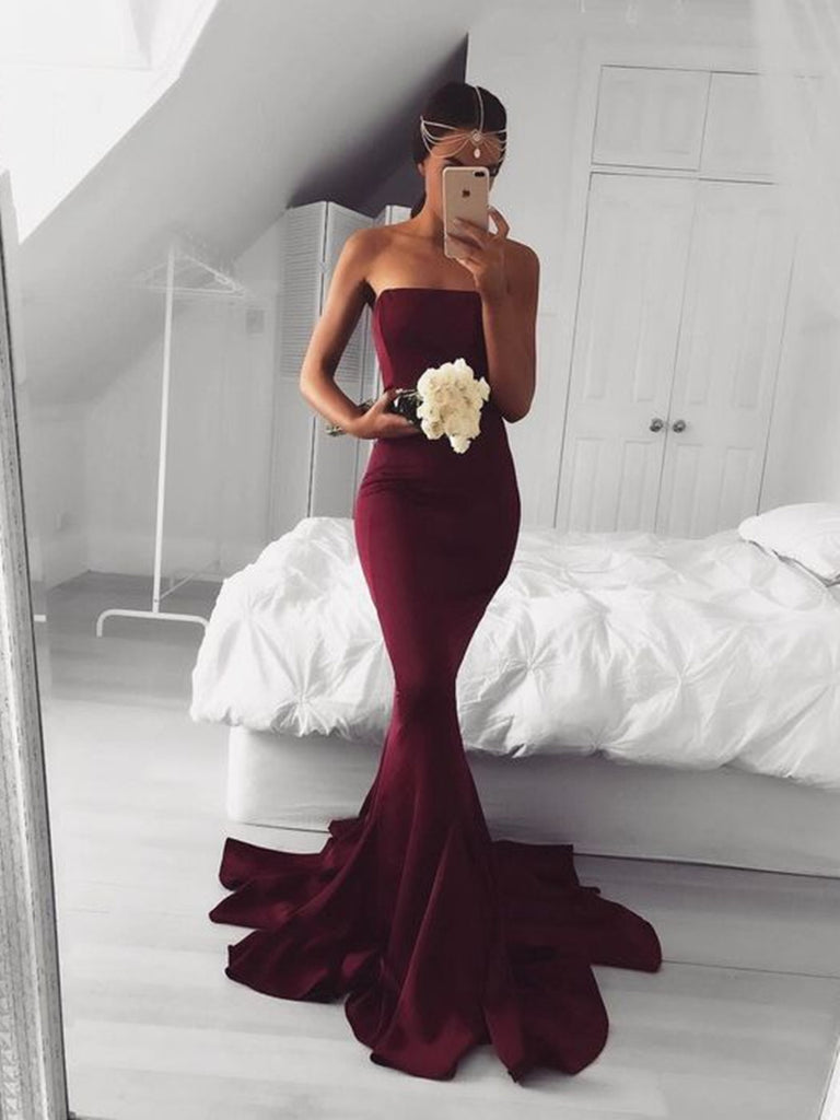Sexy Mermaid Burgundy/Maroon Prom Dress, Burgundy Mermaid Formal Dress