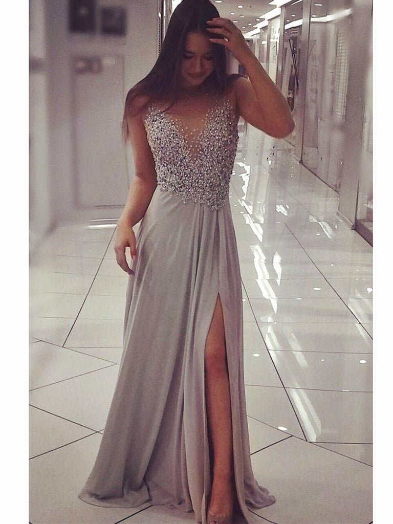 Silver Grey Floor Length Prom Dress with Slit, Silver Grey Formal ...