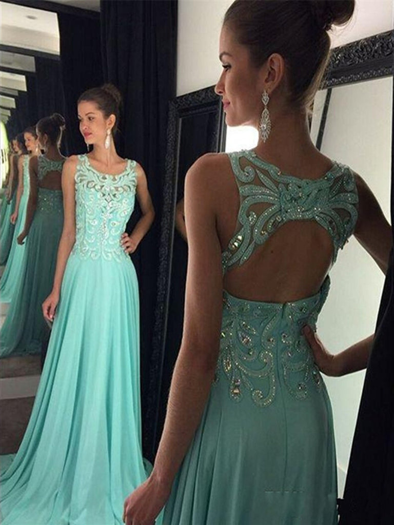 Custom Made A Line Round Neck Mint Green Backless Prom Dresses Mint