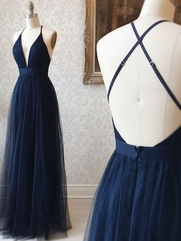A Line V Neck Navy Blue Backless Prom Dresses, Dark Navy Blue Backless Tulle Evening Formal Dresses