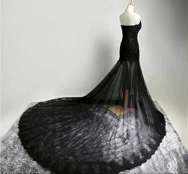 Custom Made Sweetheart Neck Mermaid Black Lace Prom Dresses with Sweep Train, Black Lace Formal Dresses Back Details