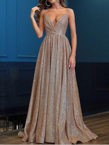 Sexy A Line V Neck Sequins Prom Dresses, Gorgeous Spaghetti Straps Formal Dresses, Evening Dresses, V Neck Graduation Dresses