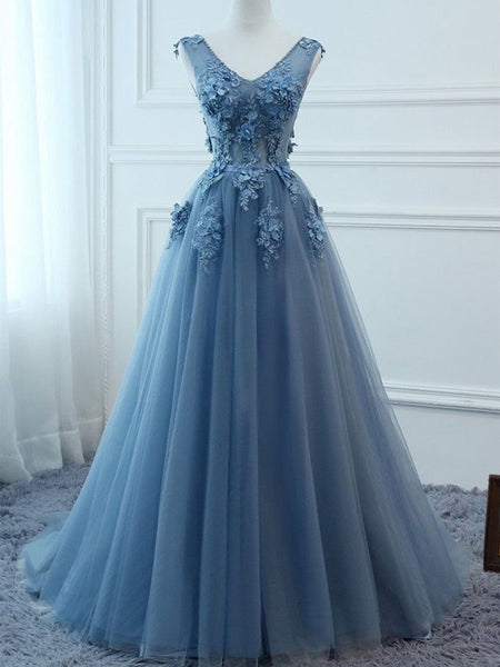 A Line V Neck Blue Lace Prom Dress, Tulle Lace Formal Dreses, Lace Evening Dresses,Blue Graduation Dresses