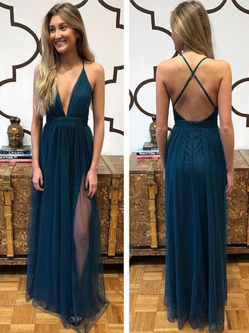 A Line Deep V Neck Backless Prom Dresses, V Neck Backless Formal Graduation Dresses, Backless Evening Dresses