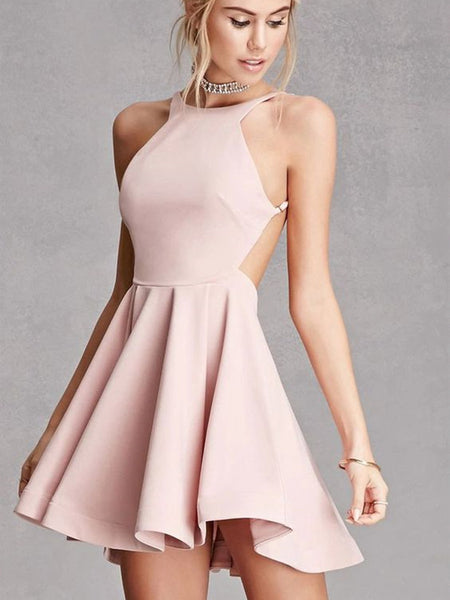 Custom Made A Line Round Neck Pink Backless Prom Dresses, Pink Backless Formal Dresses, Evening Dresses