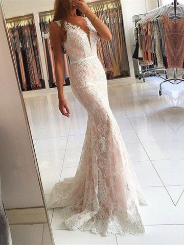 Custom Made V Neck Mermaid Lace Champagne Prom Dresses, Lace Formal Dresses, Bridesmaid Dresses