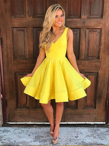 Custom Made A Line V Neck Short Yellow Prom Dress, Short Yellow Homecoming Dress, Formal Dress