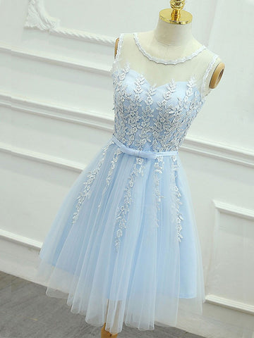 A Line Round Neck Short Blue Lace Prom Dresses, Short Lace Formal Dresses, Blue Lace Graduation Dresses, Homecoming Dresses