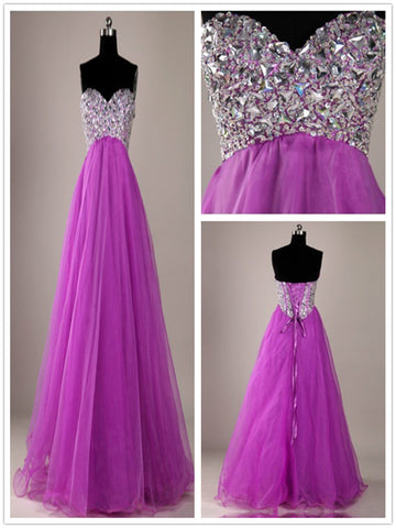 A Line Sweetheart Neck Purple Floor Length Long Prom Dresses, Purple Formal Dresses