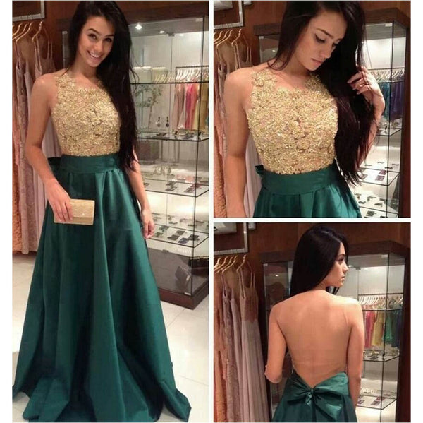 Custom Made A Line Round Neck Backless Green and Golden Long Prom Dress, Golden and Green Formal Dress