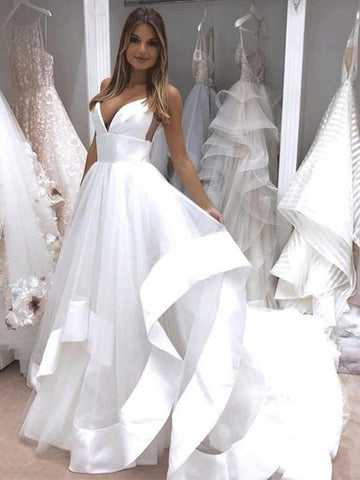 V Neck Backless White Wedding Dresses, White Backless Prom Dresses, Evening Dresses