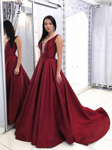 Burgundy V Neck Open Back Prom Dress with Train, Burgundy Open Back Formal Evening Dresses