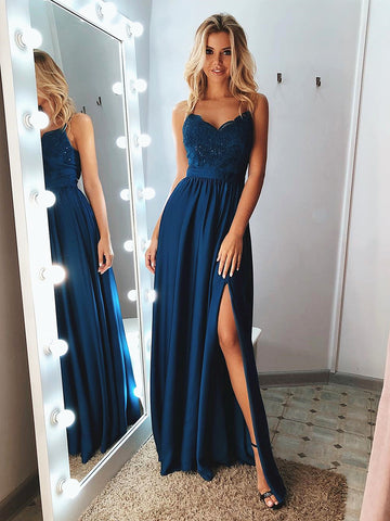 A Line Sweetheart Neck Blue Lace Prom Dresses, Blue Lace Formal Evening Graduation Dresses Long