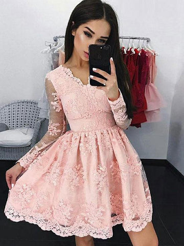 Pink Long Sleeves Short Lace Prom Dresses, Short Long Sleeves Pink Lace Graduation Homecoming Formal Dresses