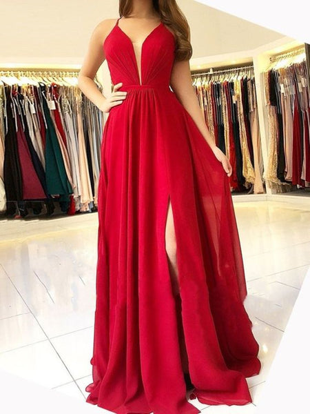 Custom Made Red A Line V Neck Backless Prom Dresses, V Neck Backless Formal Dresses, Red Graduation Dresses