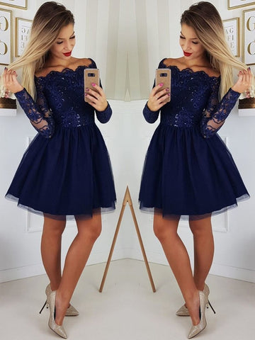 Custom Made A Line Long Sleeves Dark Navy Blue Lace Prom Dresses, Short Navy Blue Lace Homecoming/Graduation/Formal Dresses
